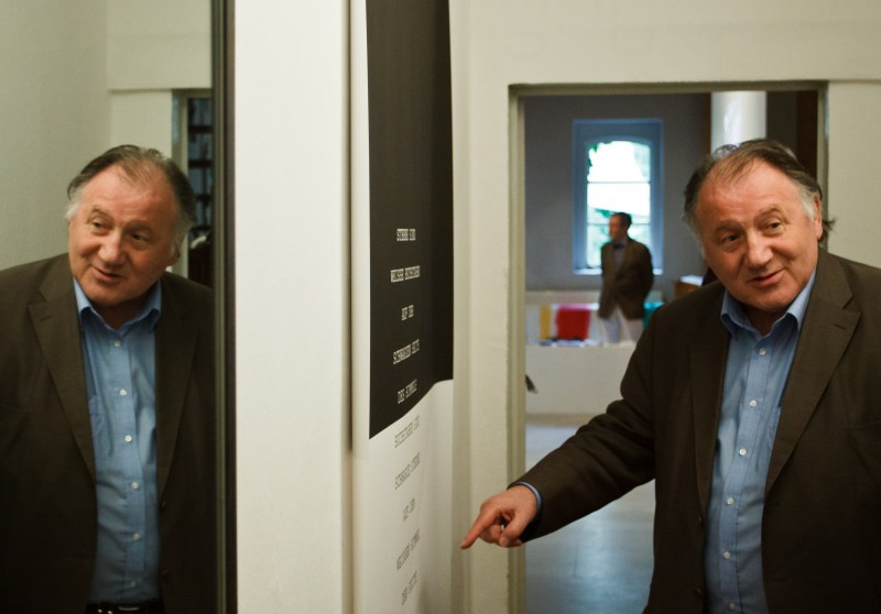 Peter Weibel im Kunstraum April 2012 Foto: Jonas Keller